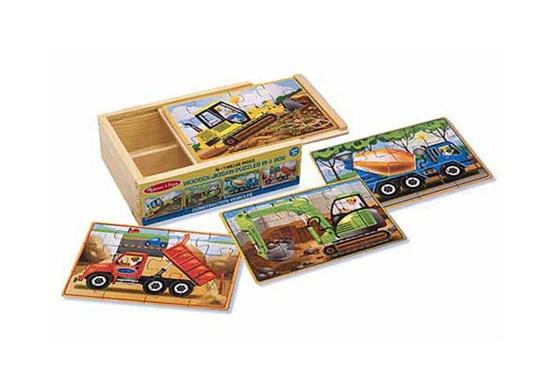 Drevené puzzle - stavebné stroje