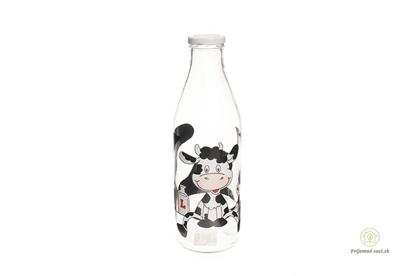 Obrázok pre výrobcu Sklenená fľaša na mlieko - kravička