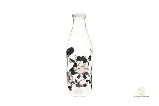 Sklenená fľaša na mlieko - kravička