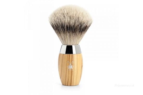 Štetka na holenie KOSMO - olivové drevo  a strieborný jazvec