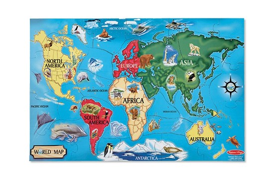 Podlahové puzzle - mapa sveta