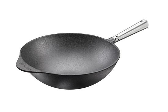 Liatinový wok s antikorovou rúčkou - 32cm