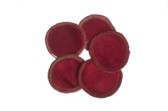 Látkové odličovacie tampóny - bordové - 5ks