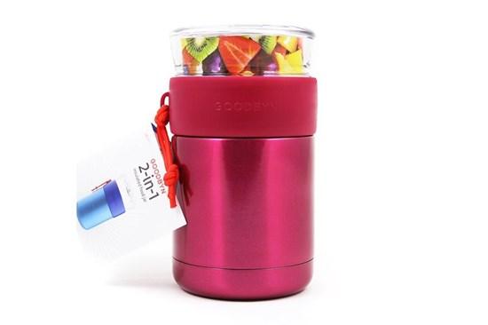 Goodbyn -Termoska na jedlo so skleneným vrchnákom 473ml-ružová