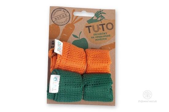 Sieťové vrecká na potraviny TUTO - zeleno oranžové