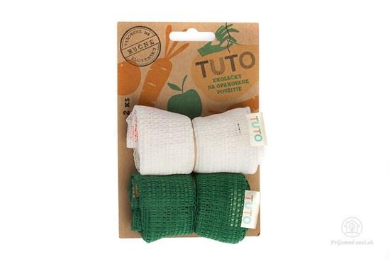 Sieťové vrecká na potraviny TUTO - bielo-zelené