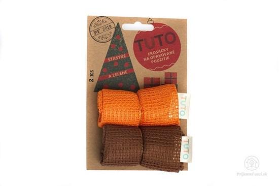 Sieťové vrecká na potraviny TUTO - hnedo-oranžové