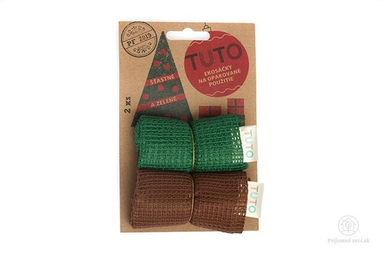 Sieťové vrecká na potraviny TUTO - zeleno-hnedé