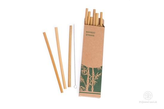 Bambusové slamky -10ks s kefkou