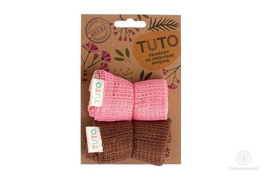Sieťové vrecká na potraviny TUTO - ružovo-hnedé