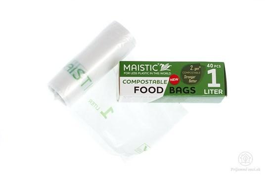 Kompostovateľné vrecká na potraviny 1l (40ks)