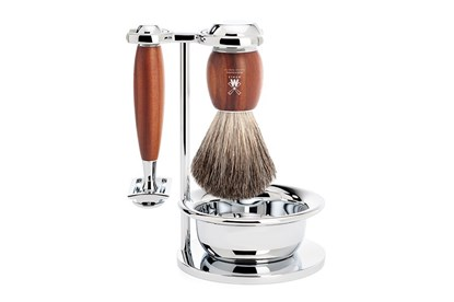Obrázok pre výrobcu Set na holenie s miskou - jazvec a slivkové drevo