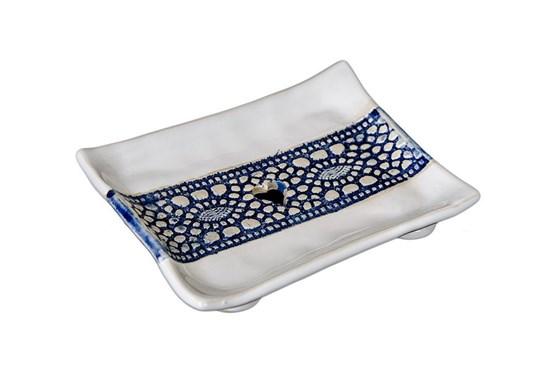 Keramická mydelnička - modrá čipka
