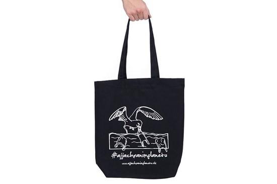 """Látková taška """"Aj ja chránim planétu"""" čierna"""