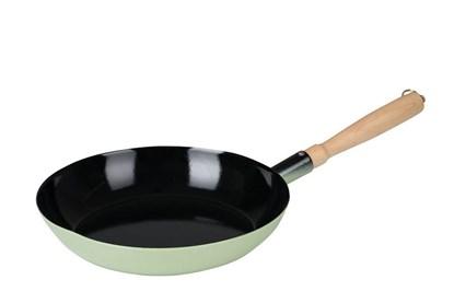 Obrázok pre výrobcu Smaltovaná panvica sdrevenou rúčkou - 25cm - zelená