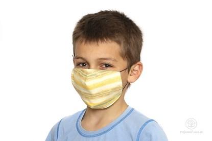 Obrázok pre výrobcu Látkové rúško na tvár pre deti - oranžové s pásikmi