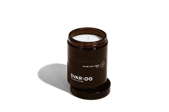Sójová sviečka SVAR:ØG - limetka a bazalka