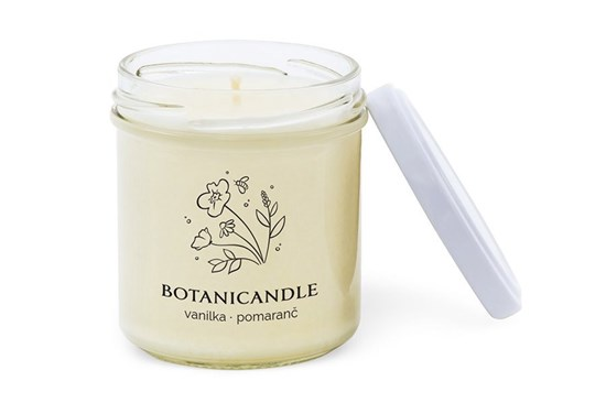 Sójová sviečka Botanicandle - malá - vanilka, pomaranč
