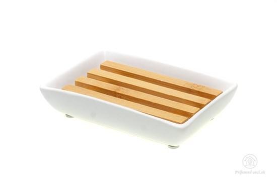Keramická mydelnička s bambusovou podložkou